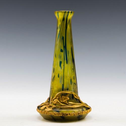 Kralik Blue on Gold Ormolu Vase c1910