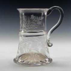 Georgian Engraved Glass Tankard c1800