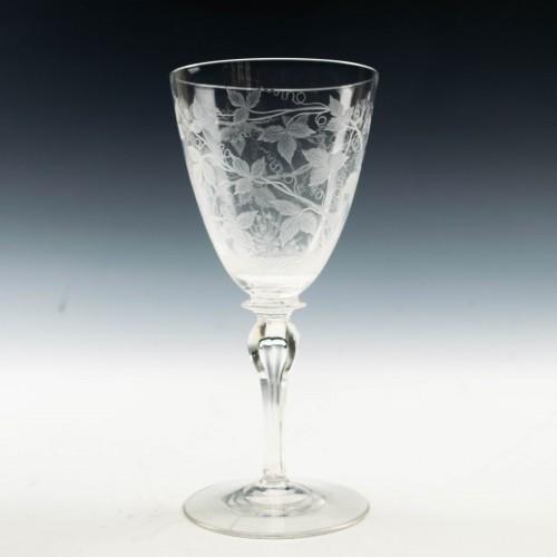 Engraved Edwardian Wine Glass c1910