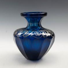 Cobalt Blue Vase with Silver Overlay c1910