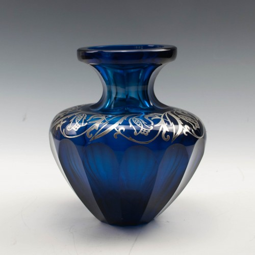 Cobalt Blue Vase with Silver Overlay c1910