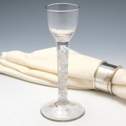 Tall Double Series Opaque Twist Wine Or Cordial Glass c1760