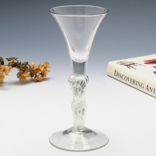 Double Series Air Twist Composite Stem Georgian Wine Glass c1750