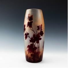 Legras Rubis Series Maple Leaf Vase c1910