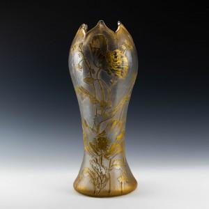 Legras St Denis Large Gilt Poppy Vase c1900
