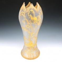 Legras St Denis Gilded Poppy Vase c1900