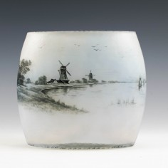 Daum Nancy Dutch Landscape Vase c1900