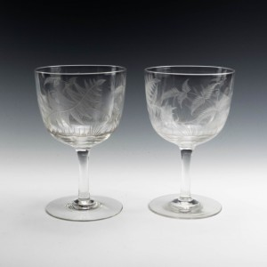 Pair of Acid Etched  Wine Goblets c1900