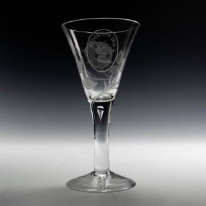 A Whitefirars Jacobite Engraved Wine Glass c1920
