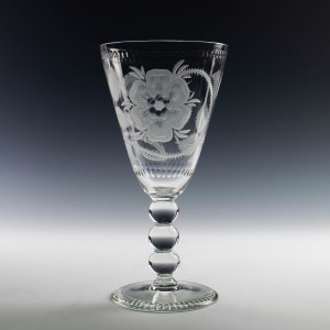 Vary Large Stuart Crystal  Wine Goblet with Later Jacobite Engraving