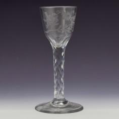 Wheel Engraved Facet Cut Stem Wine Glass c1780