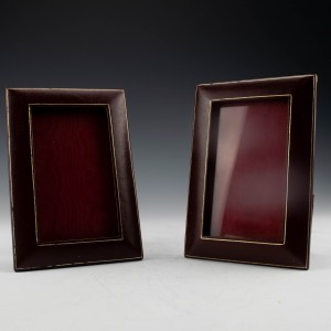 Pair of Vintage Calf Skin Bound Liberty Photo Frames