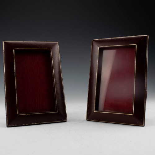 Pair of Vintage Calf Skin Bound Liberty Photo Frames