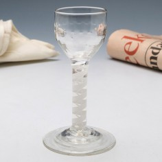 Georgian Rib Moulded Double Series Opaque Twist Wine Glass c1760