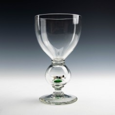 Stevens and Williams Novelty Goblet Containing Lampwork Hound c1928