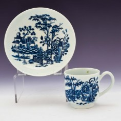 "First Period Worcester ""The Plantation Print"" Coffee Can and Saucer c1765"