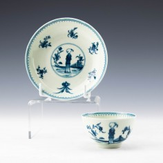 """First Period Worcester """"The Waiting Chinaman"""" Pattern Small Tea Bowl and Saucer c1772"""