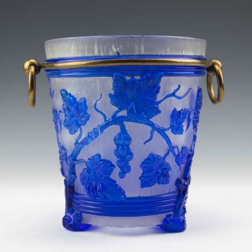French Cameo Glass Ice Bucket c1915