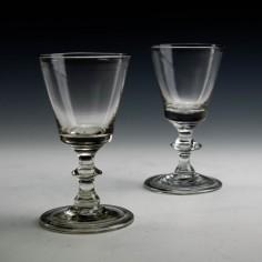 Pair of Georgian Dram Glasses With Folded Feet c1810