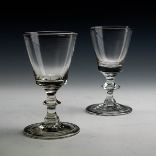 Pair of Georgian Dram Glasses With Folded Feet c1810