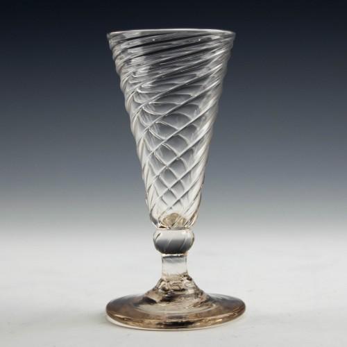 Wrythen Moulded Georgian Dwarf Ale Glass c1780