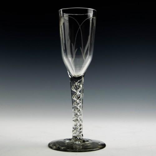 Georgian Wheel Engraved Mercury Twist Ale Glass c1750