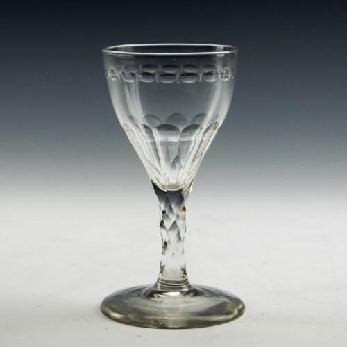 Facet Cut Stem Georgian Gin Glass c1780