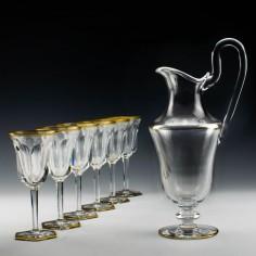 Six Marked Baccarat Malmaison Wine Glasses and Claret Jug