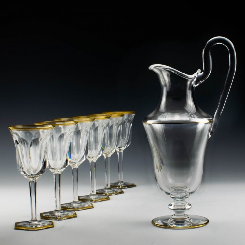 Set of Six Baccarat Malmaison Wine Glasses with Claret Jug