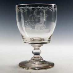 Britannia Engraved Georgian Rummer c1820