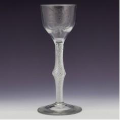 Engraved Jacobite Sympathy Multi Series Air Twist Wine Glass c1750