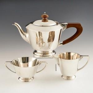 Art Deco Sterling Silver Three Piece Tea Set London 1938