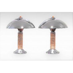 Original Art Deco Pair of Dome Table Lamps c1940