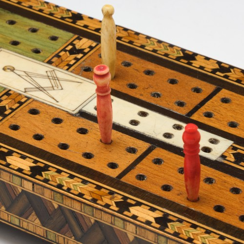 Victorian Masonic Inlaid Marquetry Cribbage Board in Tunbridge Ware Style  c1890