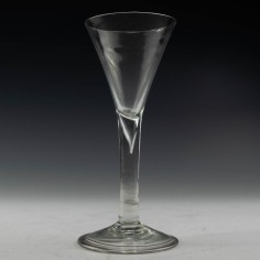 Georgian Plain Stem Wine Glass c1740