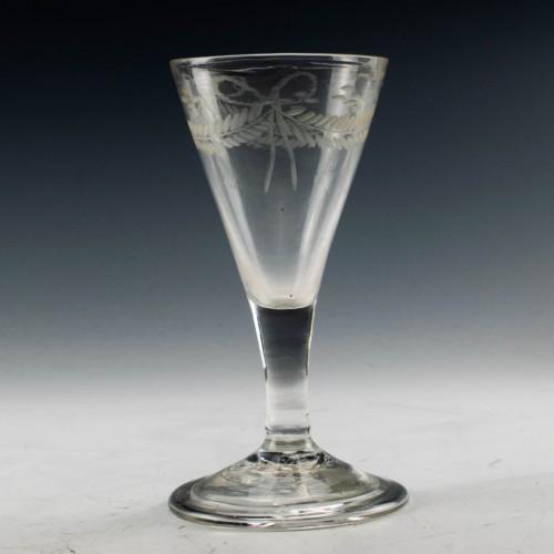 Wheel Engraved Georgian Gin Glass c1750