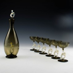 Bimini Art Deco Liqueur Decanter and Set of Six Glasses c1930