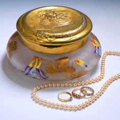 Legras Trinket Box with Orivit Gilded Pewter Cover c1910