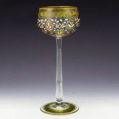 Fritz Heckert Gilded and Enamelled Art Nouveau Wine Glass c1900