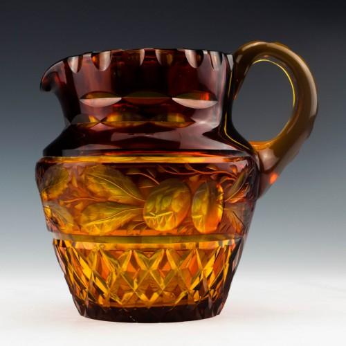 A Victorian Amber Cut Glass Jug c1880