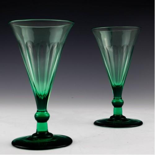 Pair of Bristol Green Wine Glasses c1875