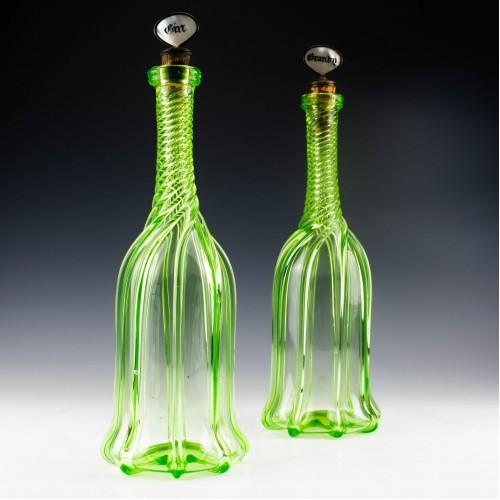 Pair of Gothic Style Uranium Glass Decanters c1865