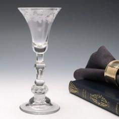 An Engraved Georgian Light Baluster Wine Glass c1740