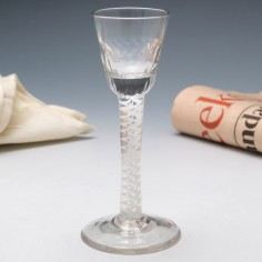 Double Series Opaque Twist Rib Moulded Georgian Cordial Glass c1760-1790