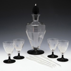 Engraved Art Deco Decanter And Four Glasses