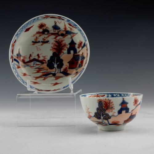A Lowestoft Porcelain Dolls House Teabowl and Saucer c1780