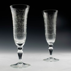 A Pair of Machine Engraved Champagne Flutes