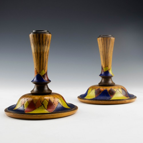 A Pair of Painted Turned Sycamore Deco Candlesticks