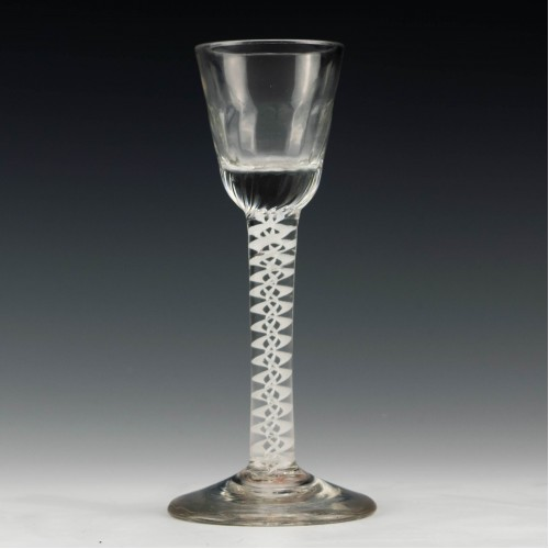 Double Series Opaque Twist Rib Moulded Georgian Cordial Glass c1760