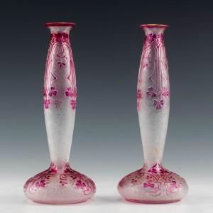 A Pair of Baccarat Eglantier Solifleur Vases c1900